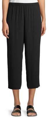 Eileen Fisher Cropped Silk Georgette Straight-Leg Pants, Plus Size