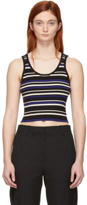 3.1 Phillip Lim Black and Blue Multi-Stripe Cropped Tank Top