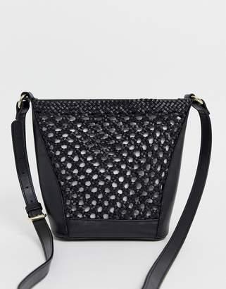 Asos Design DESIGN leather woven bucket bag