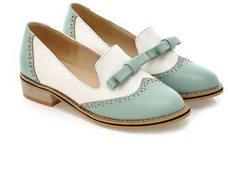leanna Spring Summer Fashion Vintage Casual Brogue Women's Low Heel Sweet Bowknot Oxfords Dance Shoes