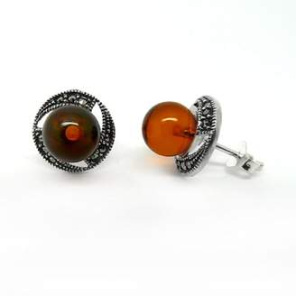 Goldmajor Sterling Silver and Marcasite Circular Stud Earrings with a Centered Round Amber Stone