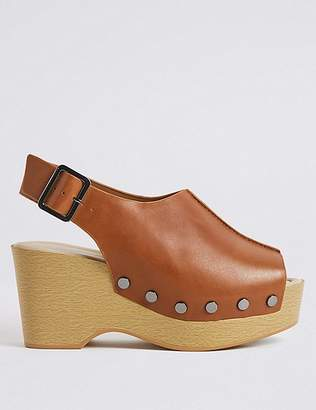 Marks and Spencer Wide Fit Leather Wedge Heel Sandals