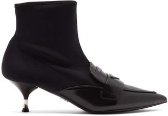 Prada Neoprene and leather ankle boots