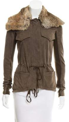 Veda Fur-Trimmed Suede Jacket
