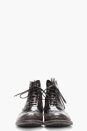 Officine Creative Black Distressed Leather Boots