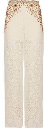 Haute Hippie Embellished Crocheted Cotton-Blend Wide-Leg Pants