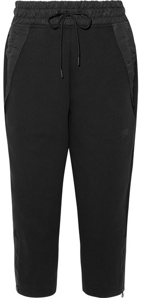 Nike - Tech Fleece Cropped Shell-trimmed Cotton-blend Track Pants - Black