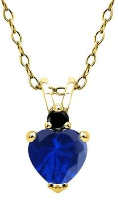 Black Diamond Gem Stone King 0.64 Ct Blue Simulated Sapphire 18K Yellow Gold Plated Silver Pendant