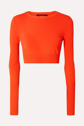 Sies Marjan Gwin Cropped Stretch-knit Sweater - Bright orange