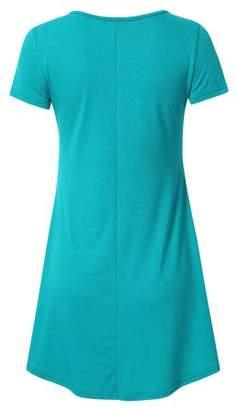 Lintimes Women's Short Sleeve Sleeveless Flare Tunic Top Shirt Mini Dress Color:Blue Size:L