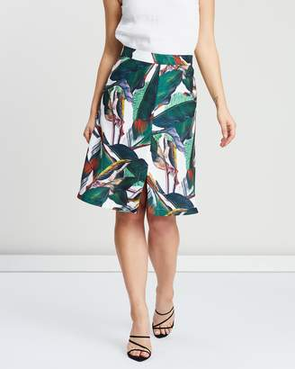 Closet London Printed Front Split A-Line Skirt