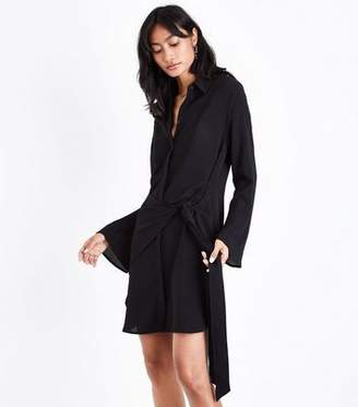 New Look Black Tie Front Chiffon Shirt Dress