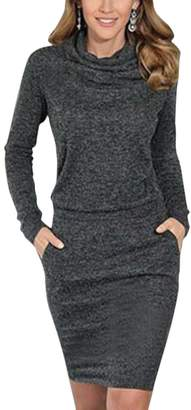 Sun-shine Trade Women's Cowl Neck Knit Stretchable Elasticity Long Sleeve Slim Fit Sweater Dress