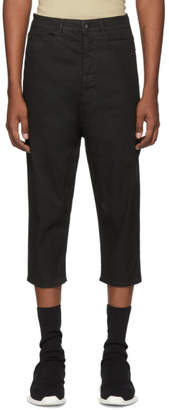 Rick Owens Black Blistered Collapse Cropped Jeans
