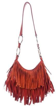 Saint Laurent Fringe Leather-Trimmed Shoulder Bag