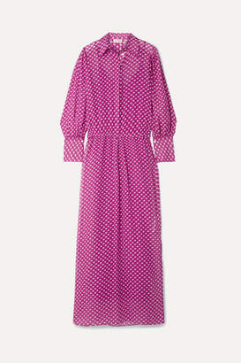 By Malene Birger Nangila Printed Cotton And Silk-blend Crepon Maxi Dress - Plum