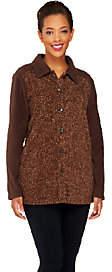 Denim & Co. Printed Fleece Button Front BigShirt