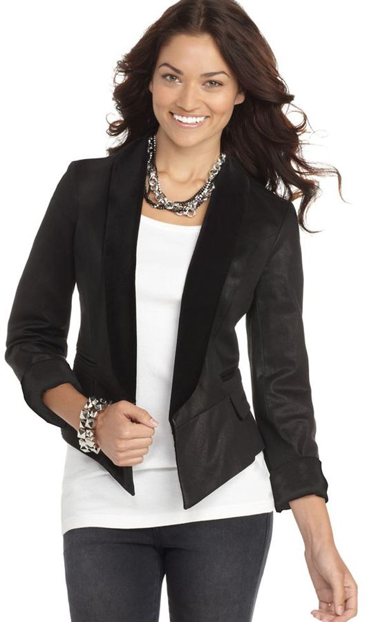 GUESS? Jacket, V-Neck Long Sleeve Fitted Tuxedo
