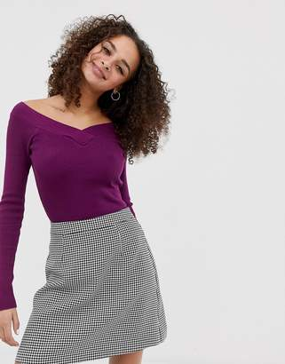 Brave Soul skinny rib top with v neck in deep berry