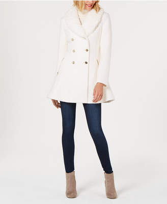 GUESS Faux-Fur-Collar Skirted Coat
