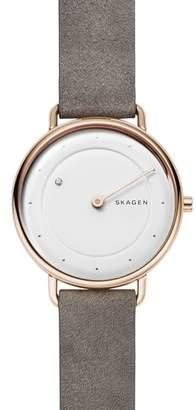 Skagen Horisont Diamond Leather Strap Watch, 36mm