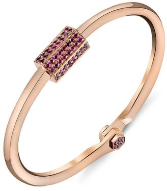 Borgioni Pavé Ruby Bolt Handcuff Bracelet - Rose Gold