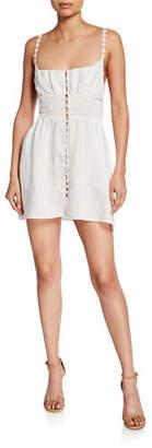 For Love & Lemons Macaroon Button-Front Mini Dress