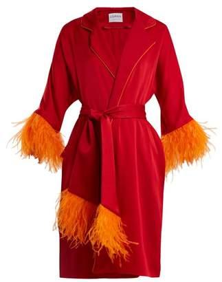 Osman Eve Feather Trimmed Satin Kimono - Womens - Red