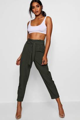 boohoo Paperbag High Waist Woven Trousers
