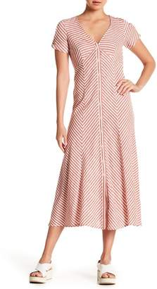 Max Studio Striped Button Front Midi Dress