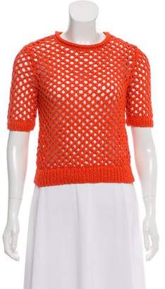 Alexander Wang Open Knit Short Sleeve Top