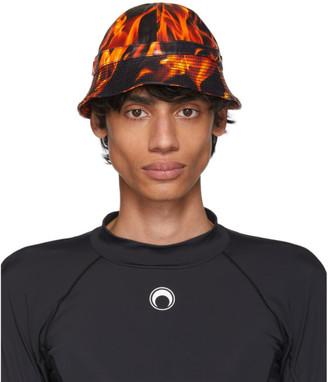 Marine Serre SSENSE Exclusive Black and Orange Leather Flames Bob Hat