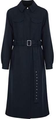 Maje Ginta Belted Wool-Twill Coat