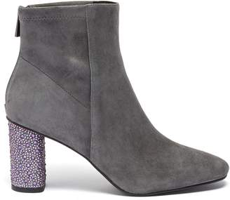 Pedder Red 'Billy' strass heel stretch suede ankle boots