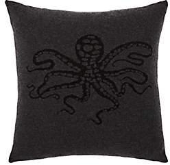 Arabella Rani Glitter Octopus Cashmere Pillow - Dark Gray