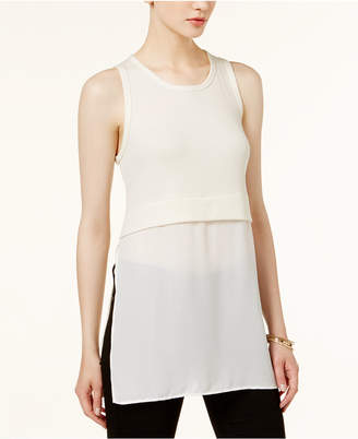 Bar Iii Mixed-Media Ribbed Top, Only at Macy's $39.50 thestylecure.com