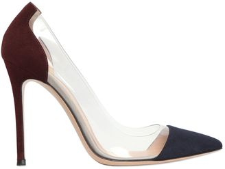 100mm Plexi & Suede Pumps $572 thestylecure.com