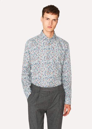 Paul Smith Men's Classic-Fit 'Music Floral' Print Shirt With 'Artist Stripe' Cuff Lining