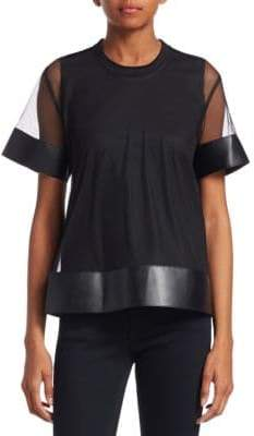 Noir Kei Ninomiya Faux-Leather Trimmed Mesh Tee