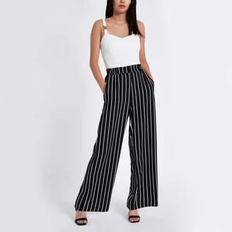 River Island Womens Black stripe wide leg trousers
