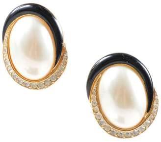 Ciner Gold Tone Hardware and Black Enamel with Faux Pearl and Rhinestone Swirl Oval Clip On Earrings