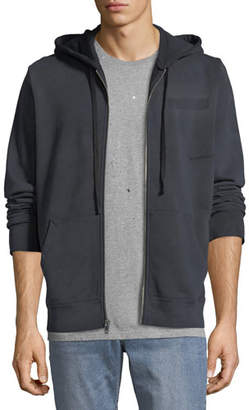 Ovadia & Sons Men's Type-O1 Washed Jersey Zip-Front Hoodie, Black