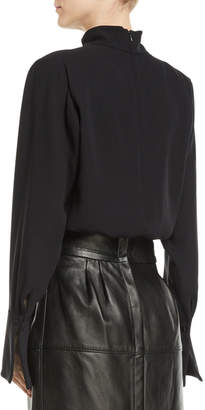 Marc Jacobs Gathered Mock-Neck Long-Sleeve Silk Blouse w/ Shoulder Pads