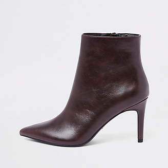 River Island Burgundy pointed thin heel boots