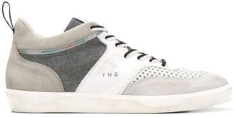 Leather Crown panelled colour block sneakers