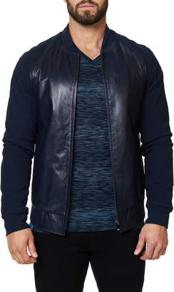 Maceoo Regular Fit Leather & Jersey Jacket