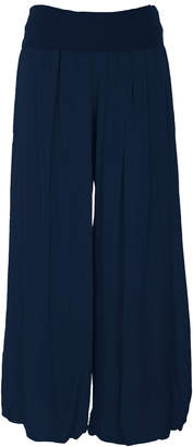 M made in Italy Fold-Over Rayon Wide Leg Pant