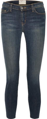 Current/Elliott The Stiletto Frayed Mid-rise Skinny Jeans - Dark denim