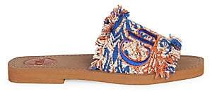 Chloé Women's Embroidered Logo Tapestry Slides Sandals