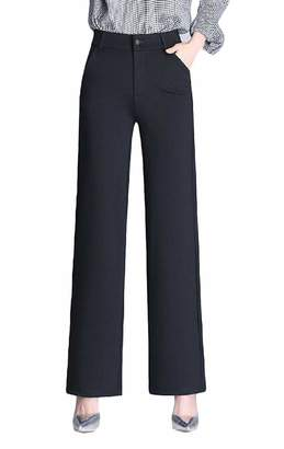 65144a27cc6 Sweatwater Women s Business High Waist Plus Size Straight Fit Wide Leg Pants